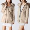 Juniors Long Parka Jacket with Faux-Fur Hood