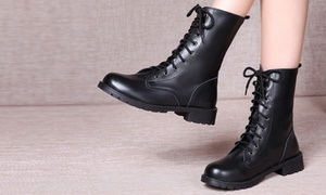 (Mode)  Boots en cuir à lacets -44% réduction