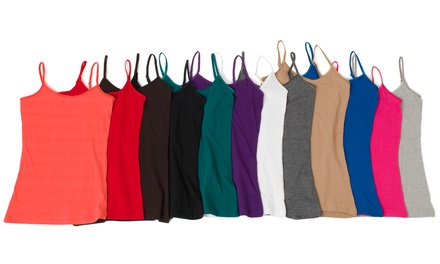 6-Pack of Women's Cotton Lycra Cami Tank Top with Adjustable Straps
