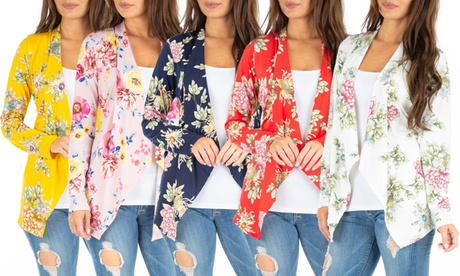 Women's Floral Draped Cardigan. Plus Sizes Available. Multiple Options Available.