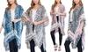 Riah Fashion Women's Leopard Print Fringe Kimono