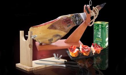 Serrano of Iberische ham, naar keuze met houder, olijfolie en meer