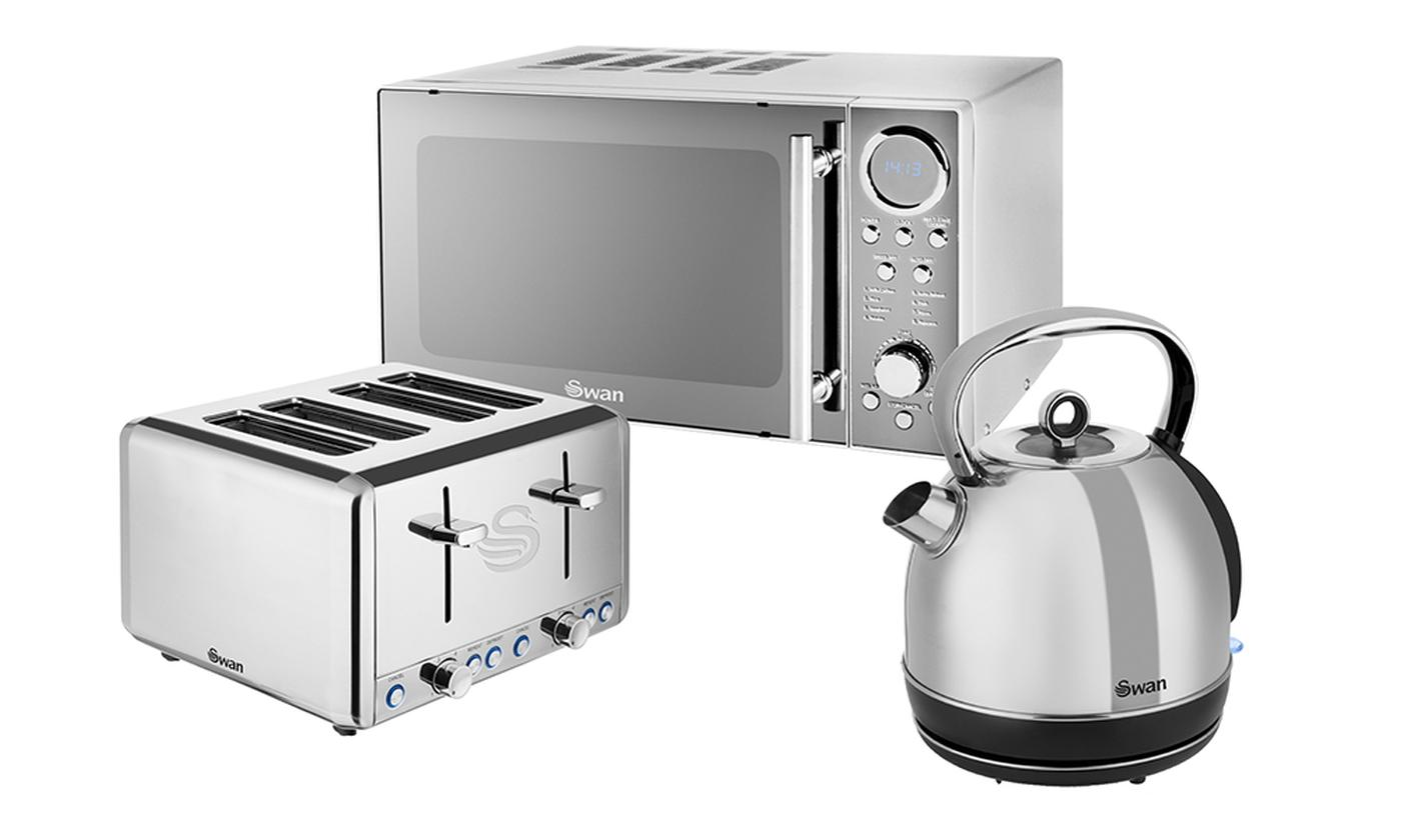 Swan Stainless Steel Digital Microwave, Four-Slice Toaster and 1.7L Dome Kettle Set
