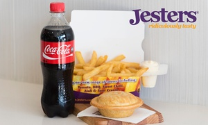 Jesters Pies: $9 for Any Pie, Large Chips, and a 600ml Drink at Jesters Pies, Multiple Locations (Up to $14.15 Value)