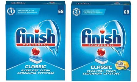 68 o 136 cápsulas de detergente Finish clásico y a limón