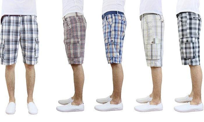 Men's Cotton Plaid Cargo Shorts with Belt