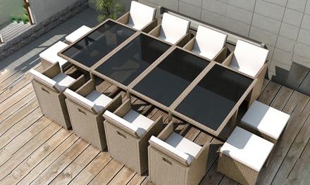 Salon de jardin encastrable Cosy, plateau verre et résine tressée, 4, 8, 10 ou 12 places, livraison offerte