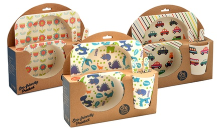 One, Two or Three Tiny DiningKids Five-Piece Bamboo Dinner Sets