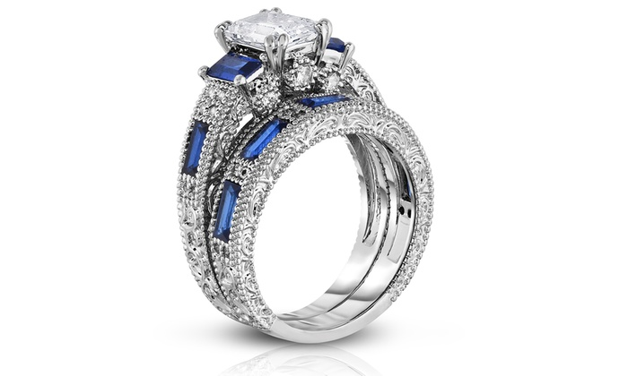 Emerald Cut Sapphire Ring and Band Set in 18K White Gold