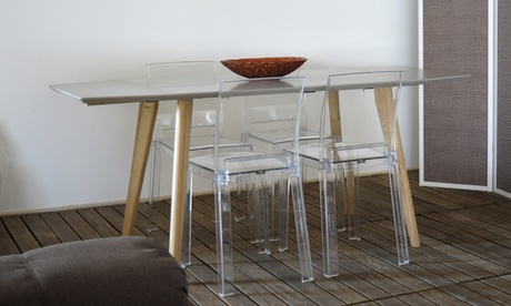 Set 4 sgabelli o 6 sedie Alaska con struttura in metacrilato trasparente