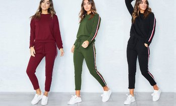 Side-Striped Casual Tracksuit Set