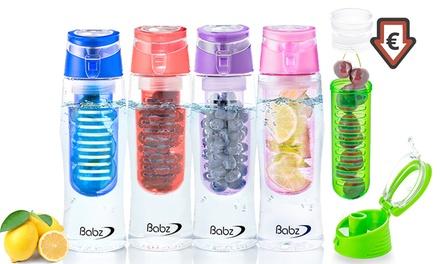 1, 2 ou 3 bouteilles - infuseurs Babz avec couvercle à rabat 700 ml, sans BPA