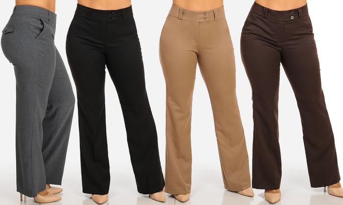 Women\'s Plus Size High-Waisted Boot-Cut Dress Pants (Sizes ...