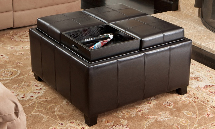 Harley Leather Espresso Tray-Top Storage Ottoman - 59% Off On Leather Espresso Storage Ottoman Groupon Goods