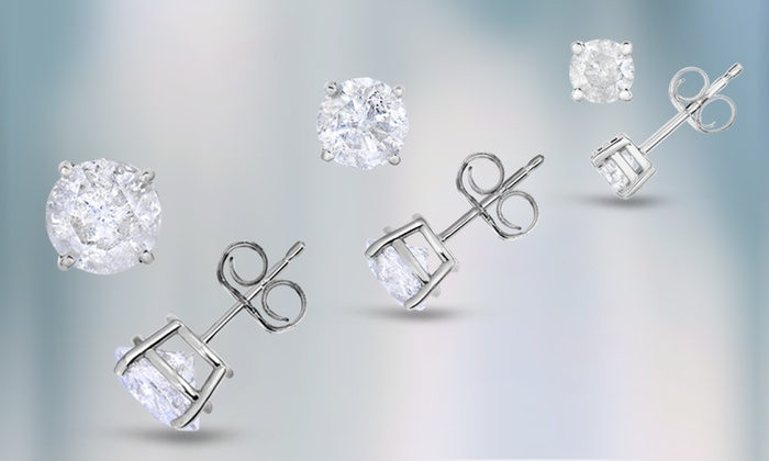 Clearance Round Cut Diamond Stud Earrings In Sterling Silver