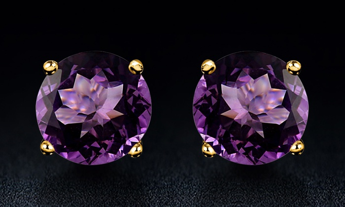 stud earrings carat amoro silver jewelry cut amethyst emerald sterling fine