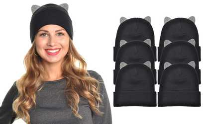 Shop Groupon Beanie Hat with Rhinestone Cat Ears (1- or 6-Pack) bf0fd5171d01
