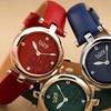 Women's Burgi Diamond Marker Flower Dial Leather Strap Watch