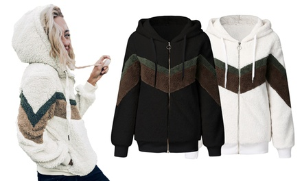 Women's Chevron Hoodie Sherpa Jacket: One ($29) or Two ($49)