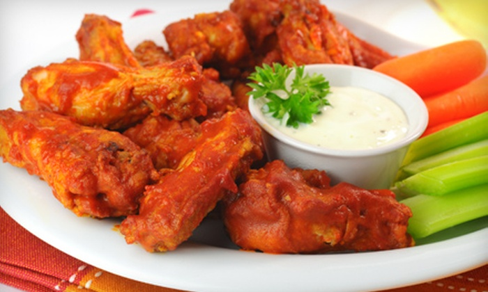 Wings to Go - Hoboken: One Large Pizza with 20 Boneless Wings or Two Large Pizzas with 40 Boneless Wings at Wings to Go (Up to 51% Off)