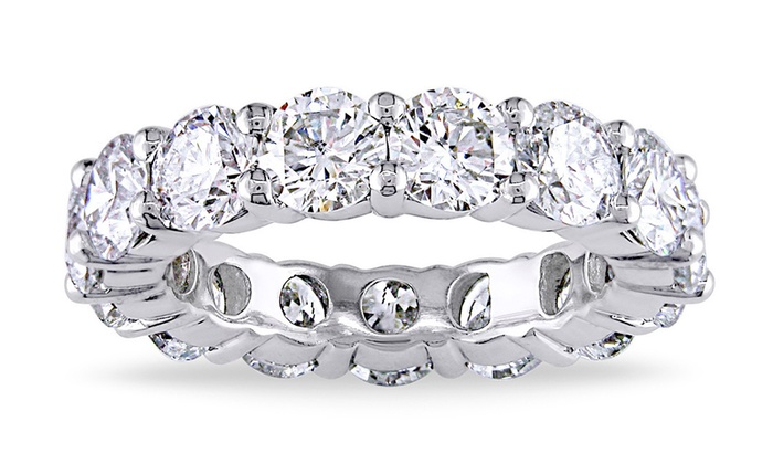 over bands round garland eternity zirconia in gold wedding plated sterling white cubic ring p silver band cz
