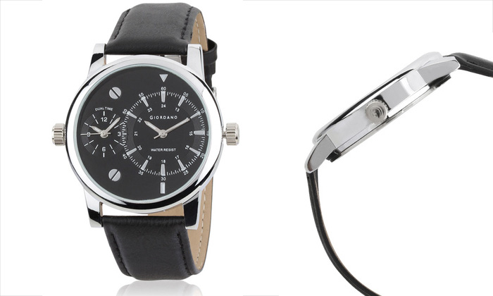 Best Price: Rs.1449 for a Giordano Dual Time Leather Watch ...
