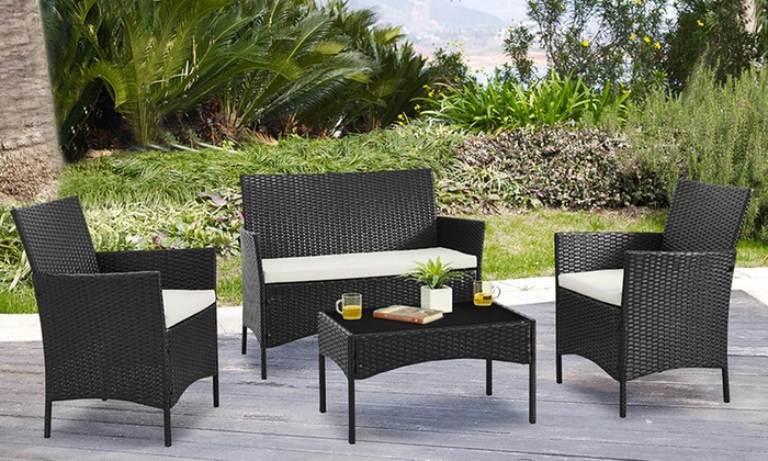 Set de jardin 4 pi ces polyrotin groupon for Groupon salon de jardin