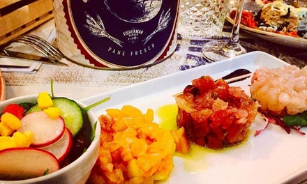 Aperifish con dolce e vino per 2 persone da The Fisherman Burger a Castel Sant'Angelo (sconto fino a 44%)