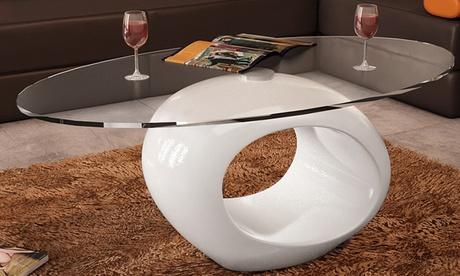 Mesa de centro de fibra de vidrio y cristal