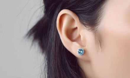 Birthstone Stud Earrings with Butterfly Closure