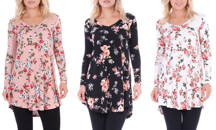 1e41b87fb3c Long-Sleeve Floral Print V-Neck Tunic Top in Regular and Plus Size ...