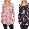 Long-Sleeve Floral Print V-Neck Tunic Top in Regular and Plus Size