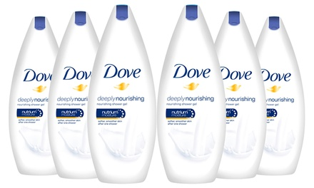 Six Bottles of Dove 250ml or 500ml Body Wash Shower Gels