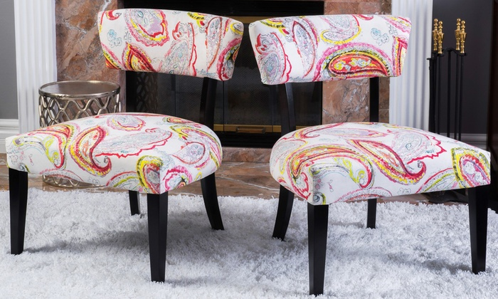 Peta Paisley Fabric Accent Chairs (Set Of 2) ...