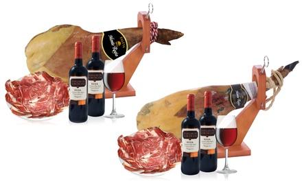 Jamón serrano o ibérico + 2 botellas de vino de La Rioja desde 36,99 € (hasta 85% de descuento), envío gratuito