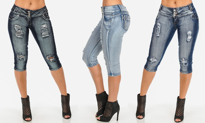 Women's Butt-Lifting Distressed Denim Capris | Groupon