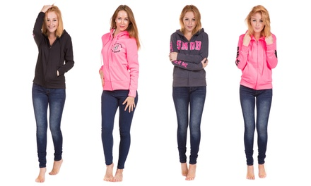 Ladies Long Sleeve Hoodies With Zipper and Front Pockets