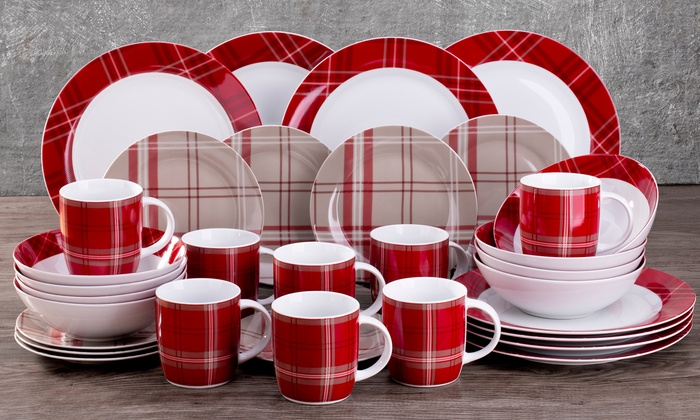 32 Piece Red Tartan Dinner Set Groupon