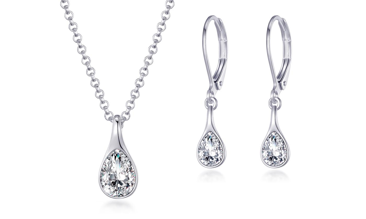 One or Two Philip Jones Raindrop Sets with Crystals from Swarovski®