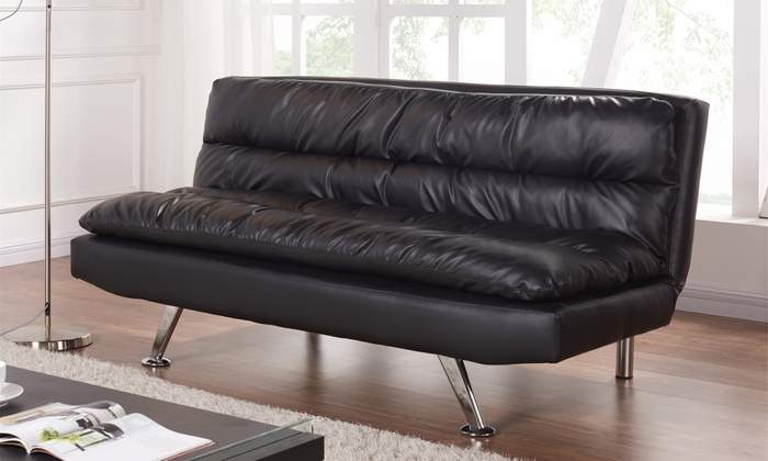 Black faux leather sofa bed groupon for Sofa bed groupon