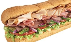 Subway: Choice of Subway Sandwich with Drink or a Platter at Subway, Three Locations (Up to 49% Off)
