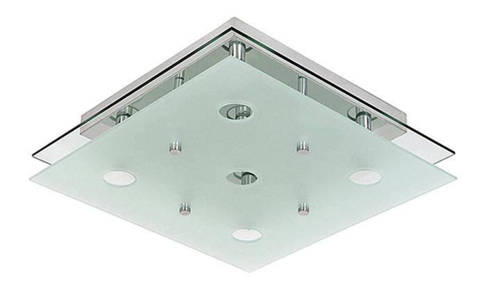 Plafoniera Quadrata Vetro Satinato : Acquista plafoniera di vetro fantasia loria con decorazione