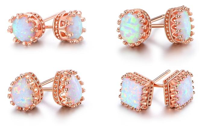 5b4be46cb Fire Opal Crown Stud Earrings in 18K Rose Gold Plating by Peermont ...