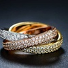 1.00 CTTW Tri-Gold Rolling Ring Made with Swarovski Crystals