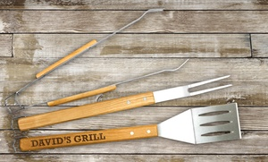 GiftsForYouNow.com: $21.99 for an Engraved Wood Grilling Tool Set at GiftsForYouNow.com ($44.98 value)