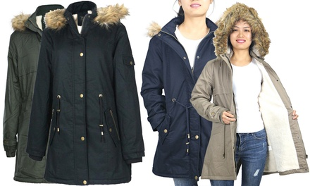 Women's Military Safari Anorak Parka Jacket with Faux Fur Hood