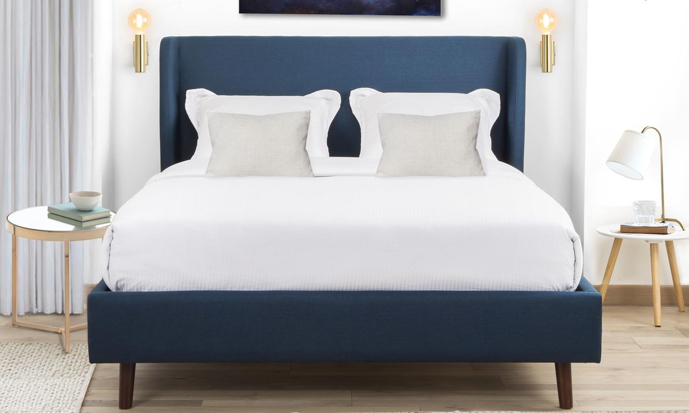 Lit scandinave bleu JUDY avec sommier inclus, et matelas en option, livraison gratuite