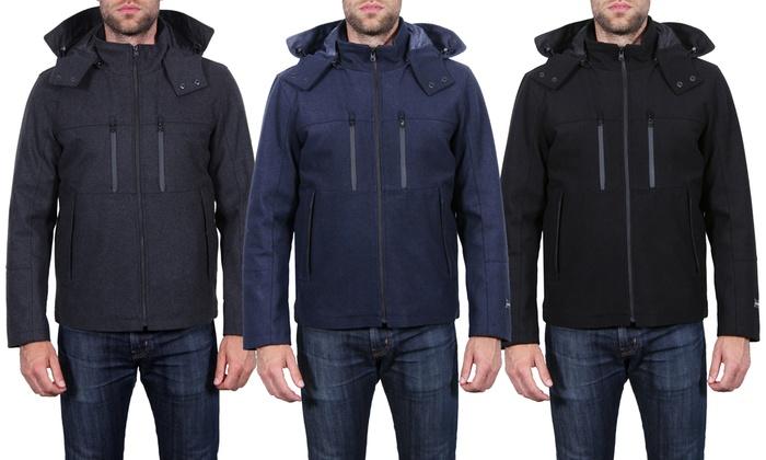 Tahari Men's Waterproof Wool Jacket with Detachable Hood