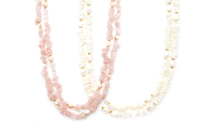 """60"""" Pearl and Semiprecious Stone Necklace : 60"""" Pearl and Semiprecious Stone Necklace. Multiple Options Available. Free Returns."""