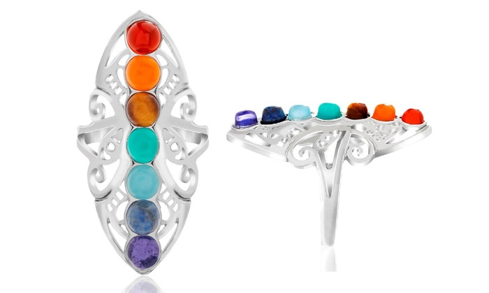 Multicolored Genuine Gemstone Chakra Ring By Nina & Grace:  Multicolored Genuine Gemstone Chakra Ring By Nina & Grace